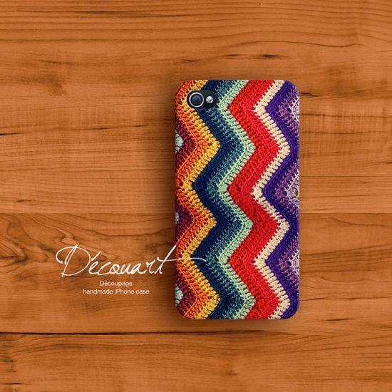 Crochet iPhone 4 case, iPhone 4s case, crochet chevron pattern - NOT real crochet S112. $26.99, via Etsy.