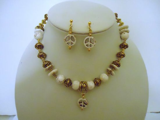 White Turquoise Necklace Gold Jewelry Peace Sign by cdjali on Etsy, $22.00