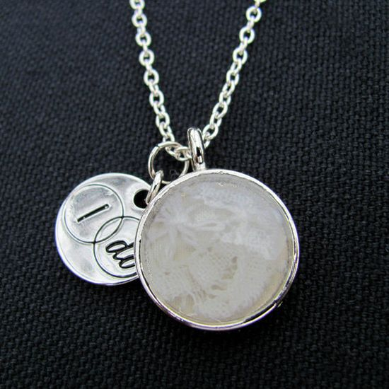 YOUR Wedding Lace Custom Necklace with Charm by greengrassgifts, $40.00