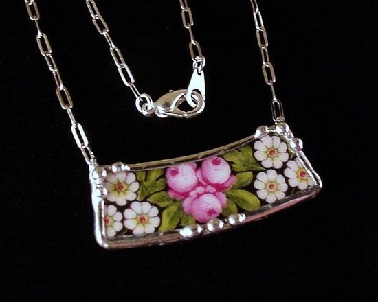 Necklace, antique porcelain china