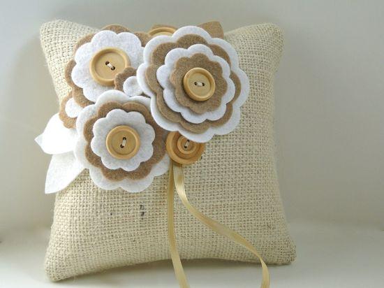 Ring Pillow Rustic Burlap felt flowers beige white wood. $34.00, via Etsy.