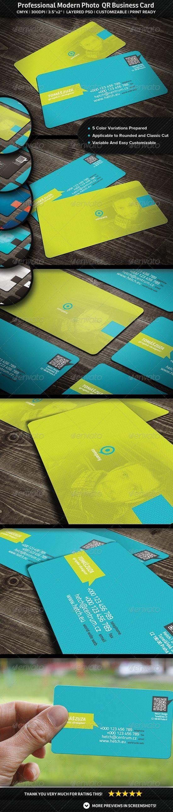 Professional Modern Photo QR Business Card