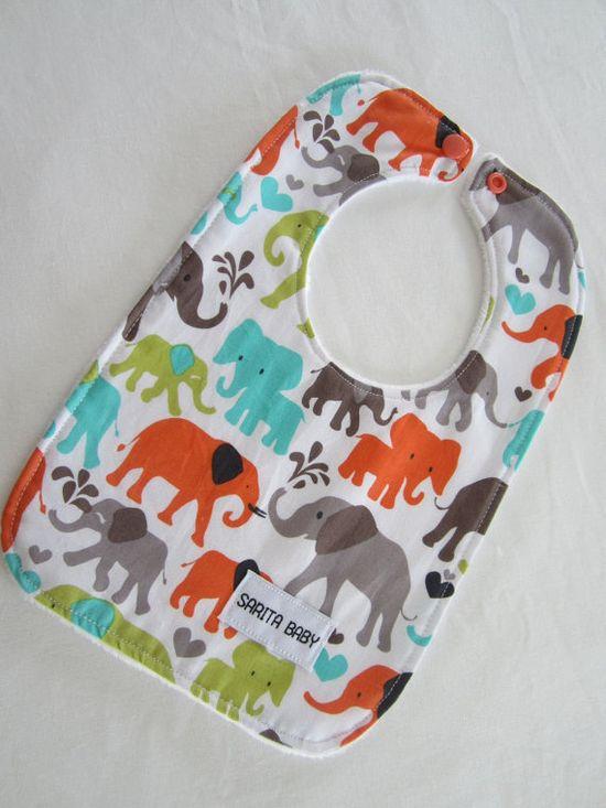 Elephant Walk Orange Baby Bib