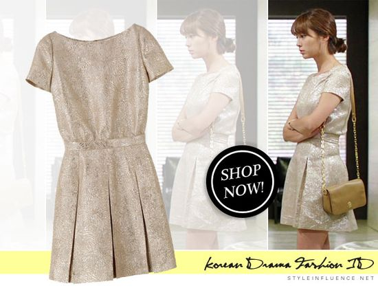 [Korean Drama Fashion] Big, Lee Minjung - Metallic Jacquard Dress