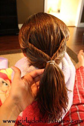 running late, wet hair style for little girls