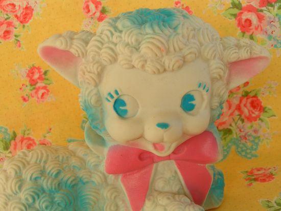 Adorable vintage Baby Lamb Squeak Toy