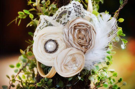 Vintage Wedding Headband Style Flower Girl Headband Couture Wedding Headband, Bridesmaids Headband. $24.50, via Etsy.