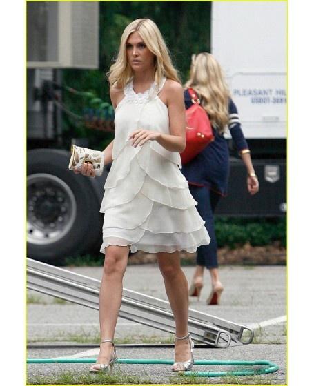 Beading Halter Cocktail Length A-line Celebrity Dress #Celebrity #Dresses