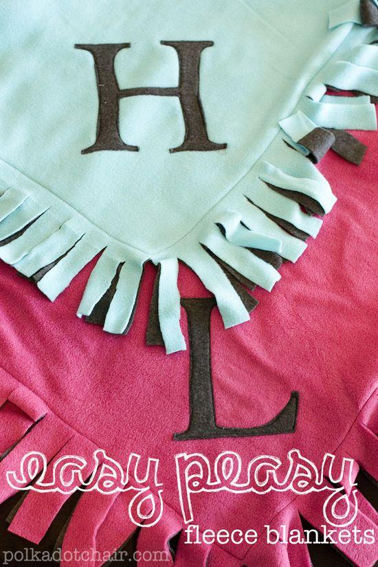 diy monogram fleece blankets.