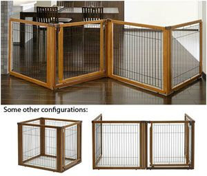 The Convertible Elite Pet Gate is three products in one - a free-standing pet gate, a room divider, and a pet pen. The gate includes a lockable door that allows free movement from room to room without the hassle of tough door locks or stepping over gates to get to the other side. Each panel locks into place at the 90 degree mark, transforming it from a free standing gate to an effective room barrier. Turn the panels more and it locks into place as a pet pen. Made of beautiful hardwood..