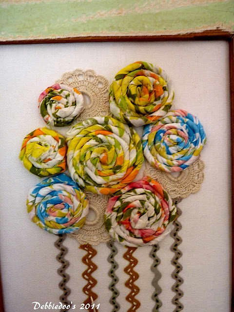wood frame, fabric flowers
