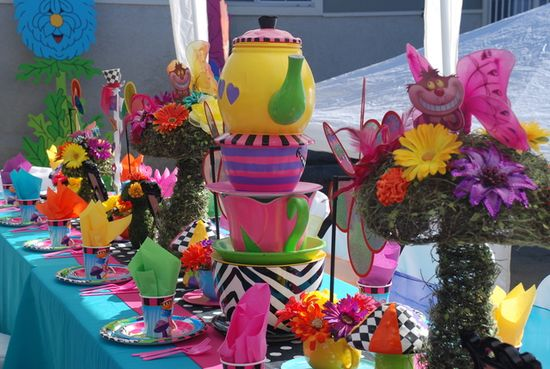 Such amazing decorations at an Alice in Wonderland party!  See more party ideas at CatchMyParty.com!  #aliceinwonderland #partyideas