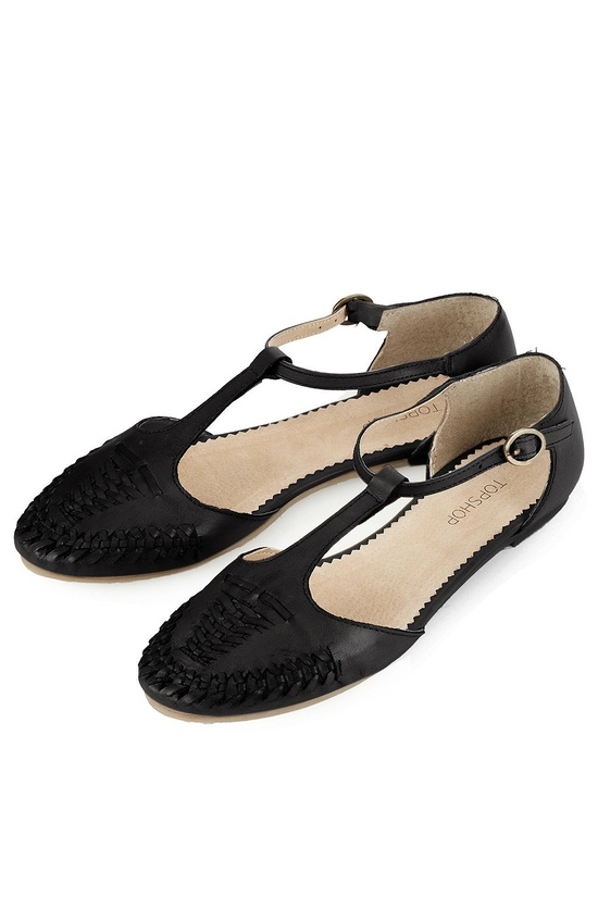Black leather t-strap flats