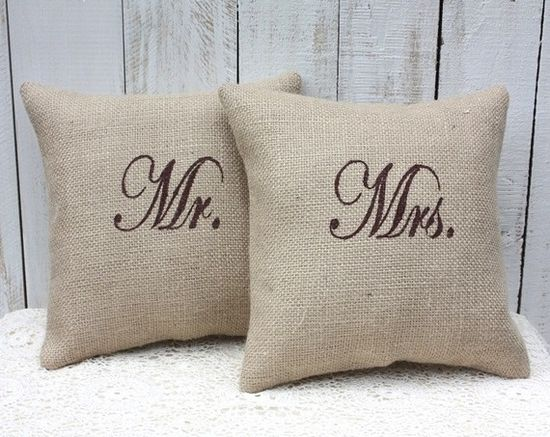 Mr. and Mrs. burlap pillows