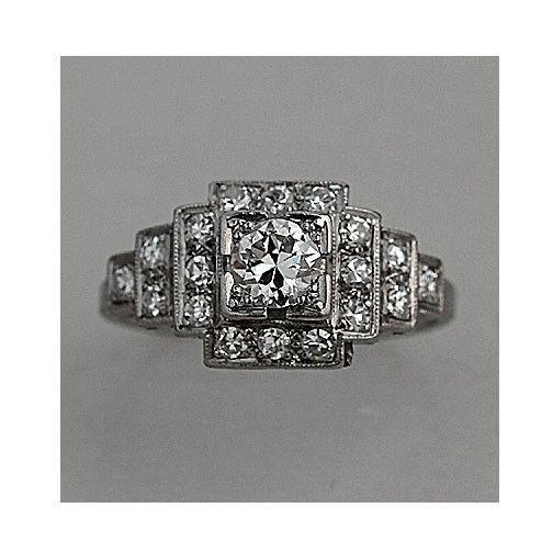 art deco ring with vintage diamonds