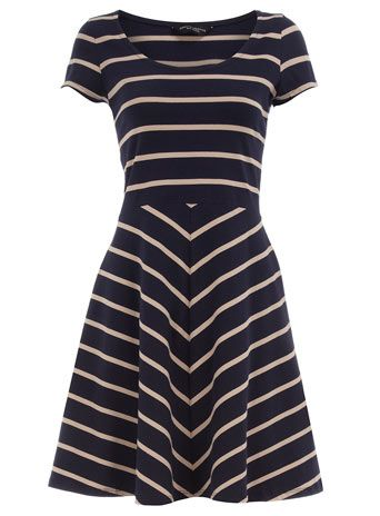 navy/stone short sleeve dress