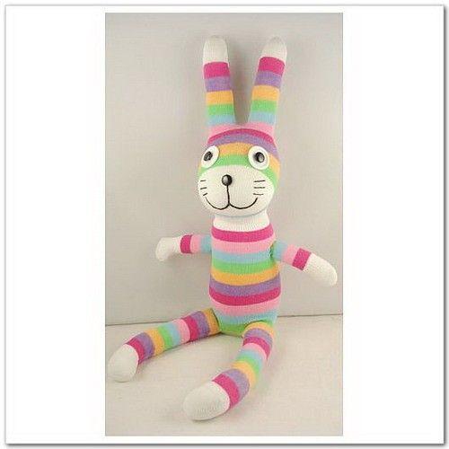 Handmade Sock Rabbit Bunny Stuffed Animal Doll by supersockmonkeys, $10.99