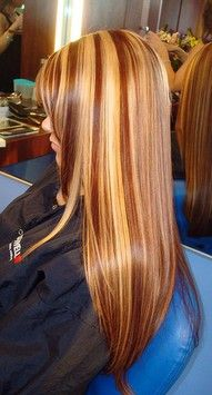 Long straight light brown hair with light blonde highlights, caramel highlights and dark red lowlights hairstyle