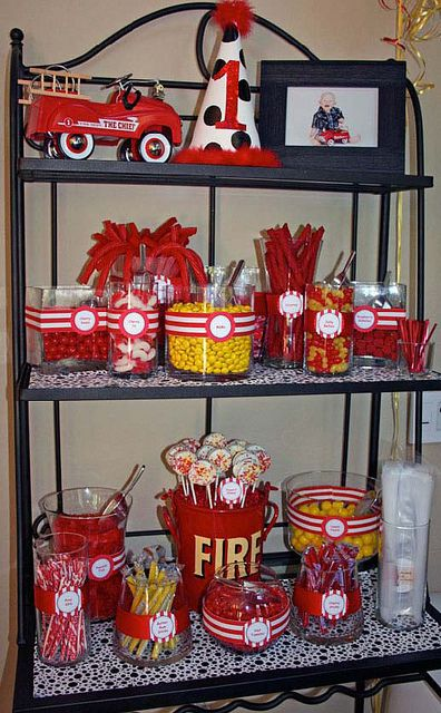 #boy birthday party candy bar.....red wagon instead of fire trucks