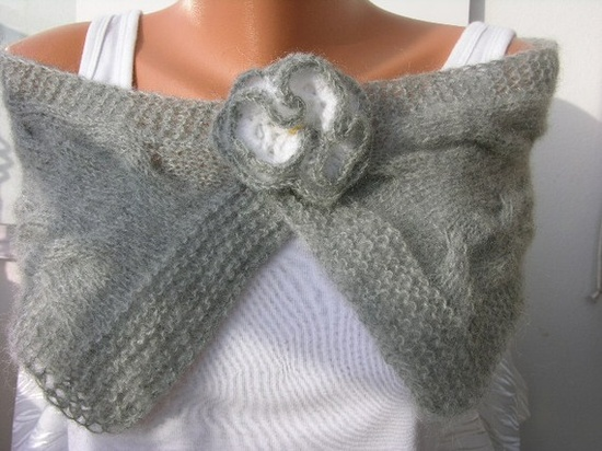 Gray  Cable Scarf  Soft angoraCowlNeckwarmerUnisex grey by anils, $45.00