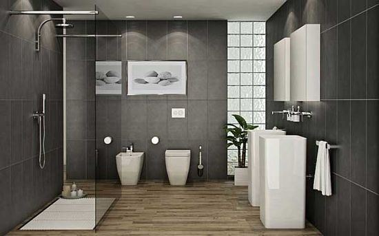 Modern Bathroom Design with Grey Ceramics and Natural Wooden Floors