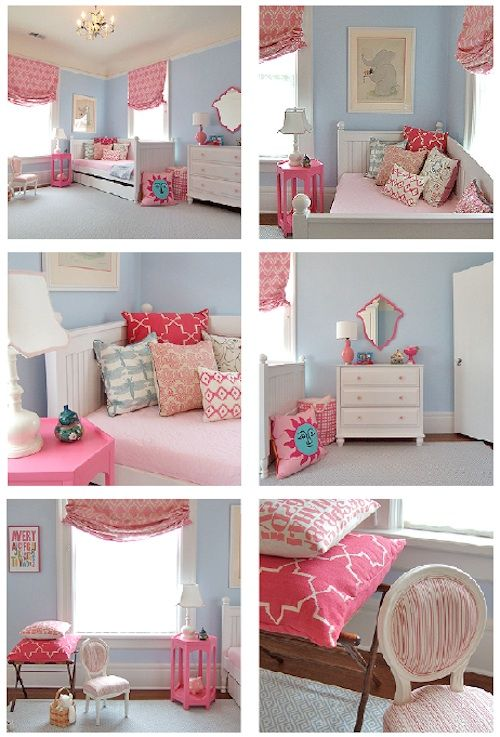 charlotte's bedroom... I want it... #bedroom #child #girl #pink #blue #french