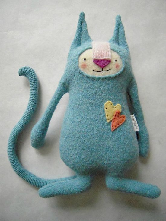 Cat Stuffed Animal Repuposed Wool Sweater by sweetpoppycat on Etsy