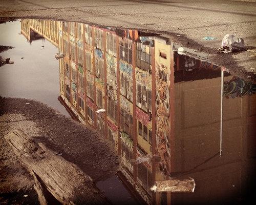 5 Pointz graffiti mecca reflected in rain puddle. Queens, New York. $25.00, via Etsy.