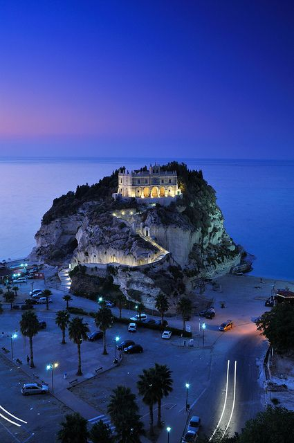 Santa Maria dell'Isola Church, Tropea, Calabria, Italy - Night