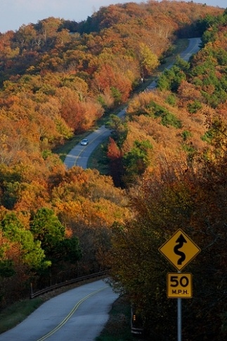 Autumn colors will dazzle you as you travel the Talimena National Scenic Byway in southeastern Oklahoma.