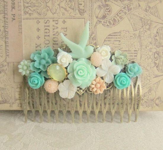 Shabby Chic Hair Comb Mint Green Hair Comb Wedding Head Piece Turquoise Peach Pink Bridal Hair Comb Bridesmaids Hair Accessories