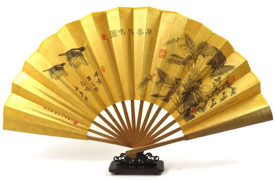 Hand made gift chinese silk Hand Fan Bird accessory by Bloobling, $19.00