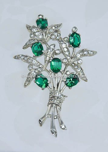 Trifari Sterling and Rhinestone 1940's Floral Brooch
