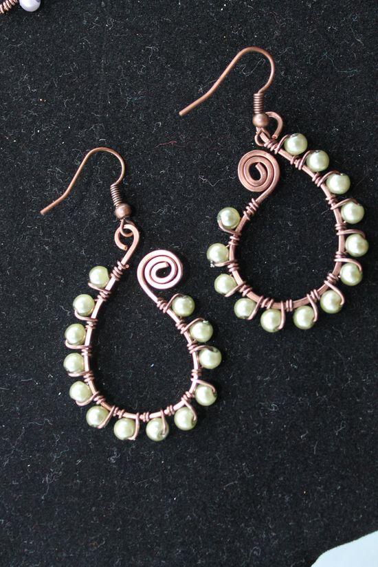 Antique copper earrings, wire wrapped jewelry handmade, pearl earrings