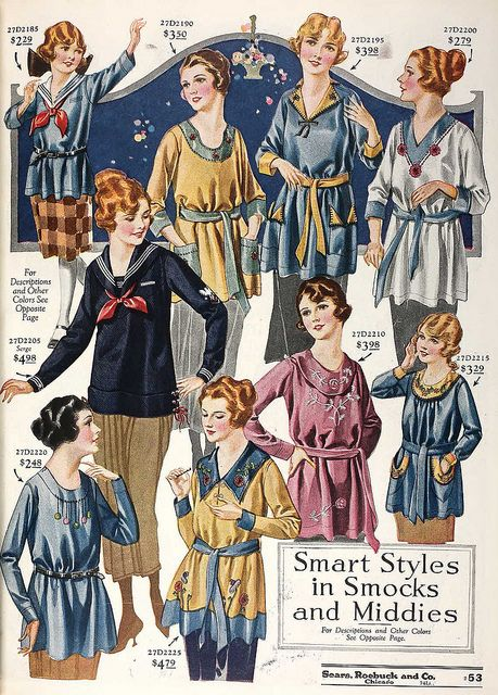 A lovely array of smock and middie styles from the 1920s. #vintage #fashion #1920s #catalog