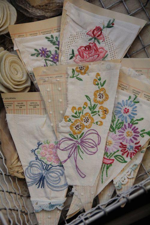 banner pieces by pretty petals - Vintage hankies