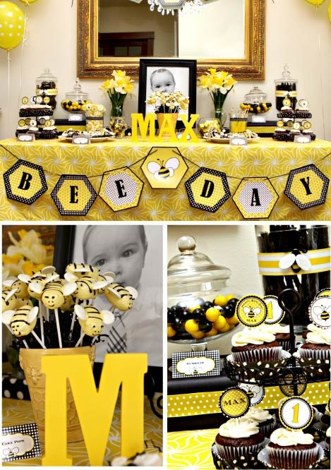 HAPPY BEE DAY Birthday Party - Coordinating Bumble Bee Printables - Customized Printable Package