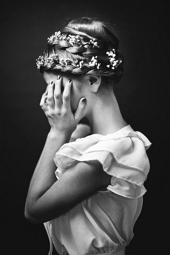 Flowers in braids.