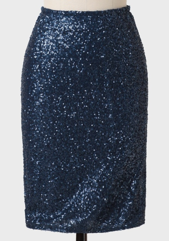 love this midnight blue sequined skirt