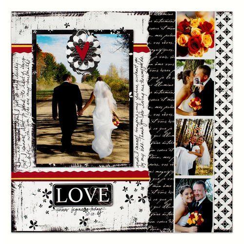 Love Wedding scrapbook page layout