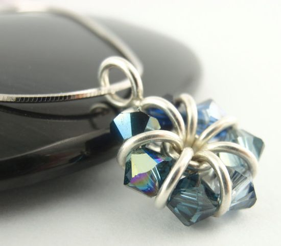 Sterling Silver Eternity Necklace  A Medley of Sapphire Crystals by unkamengifts, $50.00
