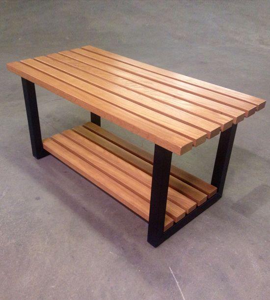 Oak Industrial Entryway Bench