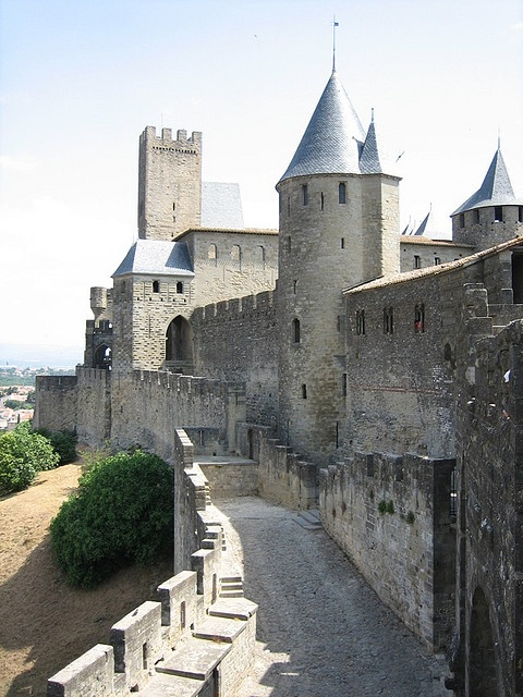Carcassonne, France.  We could see the castle from our windows.  I could see the fog lifting from the castle in the morning.  It was like living in a fairy tale, and at night it was all lit up.