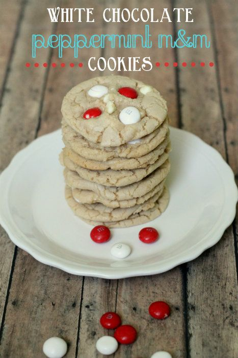 White Chocolate Peppermint M Cookies. YUMMY! { lilluna.com } #cookies