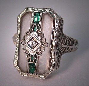 Antique Diamond Ring Vintage Art Deco Rock Crystal White Gold Filigree