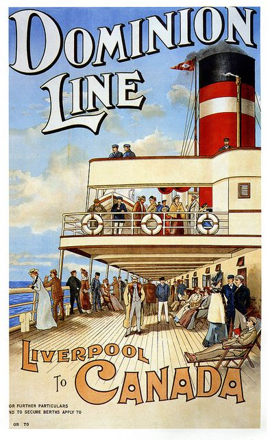 Vintage travel poster Dominion Line From Liverpool To Canada (1904).