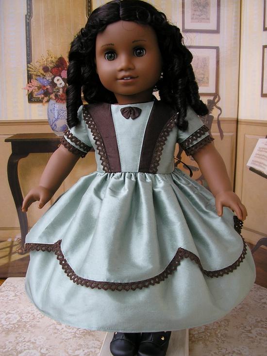 American Girl mid-1800s silk taffeta dress - mint green and chocolate. $92.00, via Etsy.
