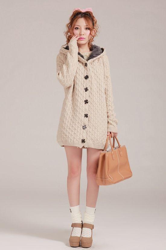 Korean Sweet Fashion Thicker Hooded Cardigan Coat