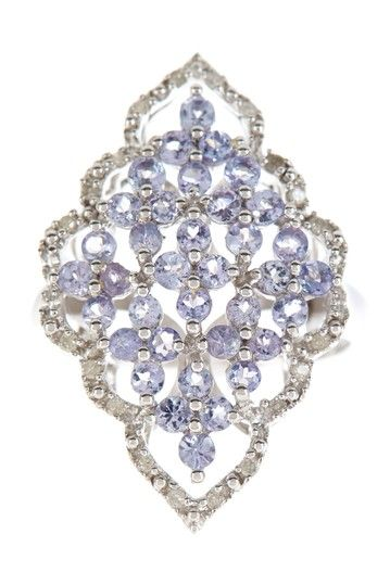White Diamond & Tanzanite Marquis Ring