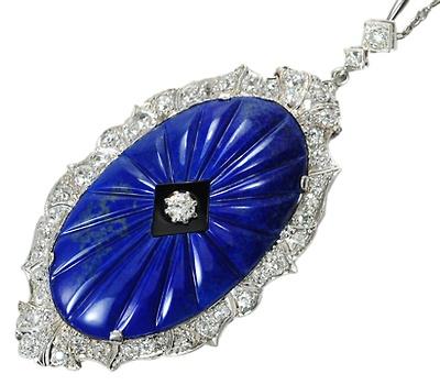 Dynamic Art Deco Diamond Lapis Pendant - The Three Graces